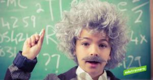 Een jonge Albert Einstein toont de leerlijn