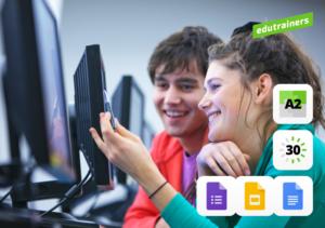 jongen en meisje in klas met computers