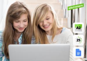 2 meisjes werken samen op een laptop
