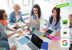 5 vrouwen overleggen op kantoor