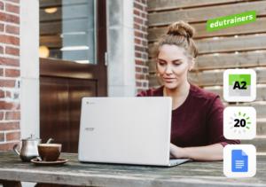 Vrouw werkt buien aan G Suite op de laptop