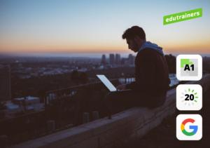 Jongen werkt op het dak aan zijn Google G suite cursus