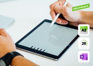 twee handen met pen op de tablet computer