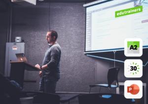 Presentatie in een aula op groot scherm