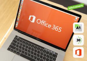 laptop met zichtbaar Microsoft 365 open