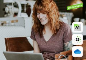 Jonge vrouw werkt op laptop met Microsoft 365
