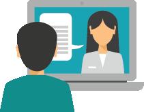 man volgt een digitale cursus online via e-learning