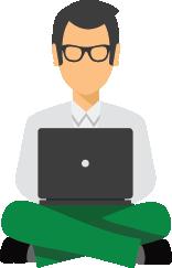 man volgt een online cursus opleiding leraren via e-learning