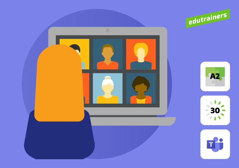 Vrouw geeft les op de laptop voor 6 studenten